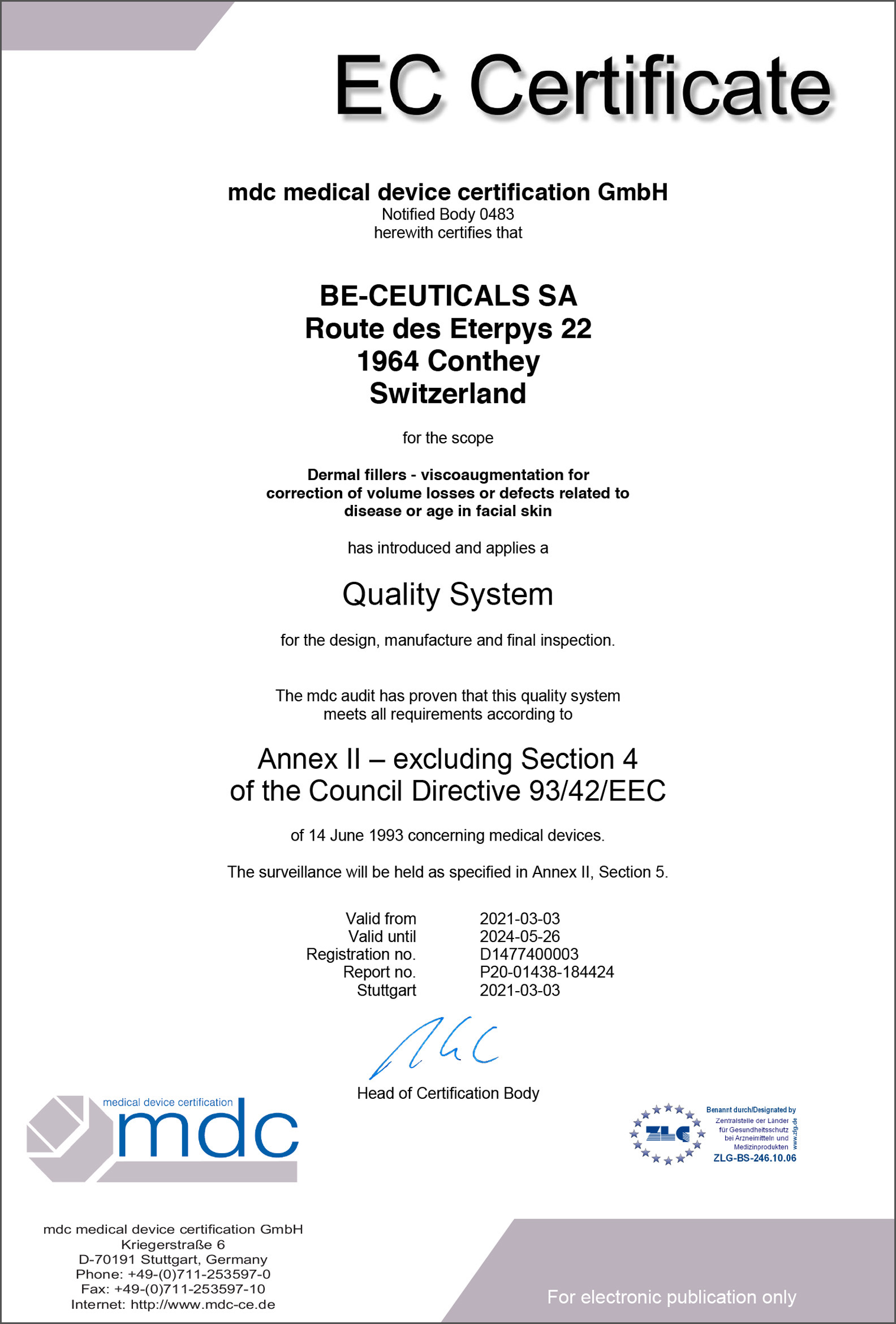 Medical Device Certification - Quality System (EEC)