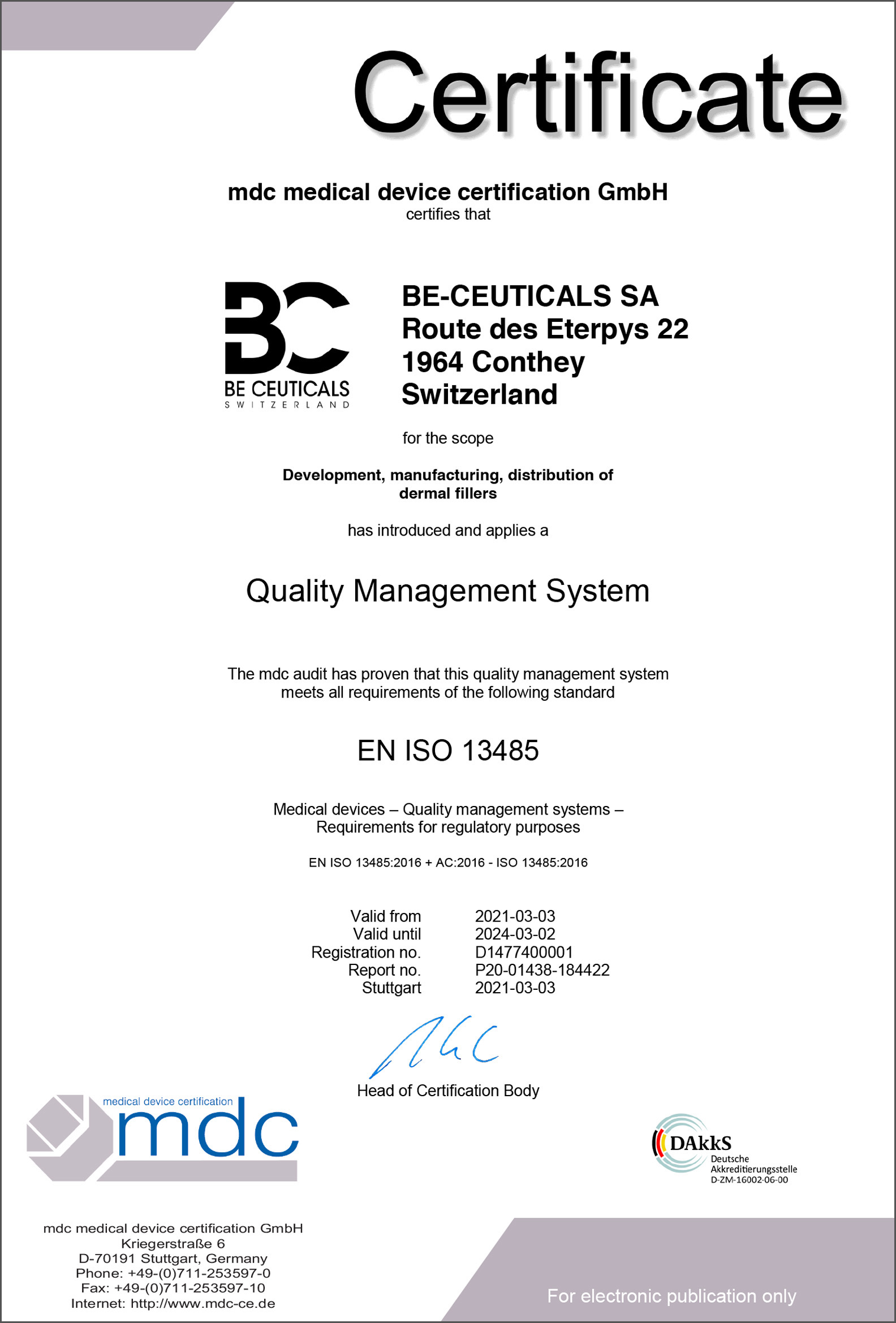 Medical Device Certification - ISO 13485