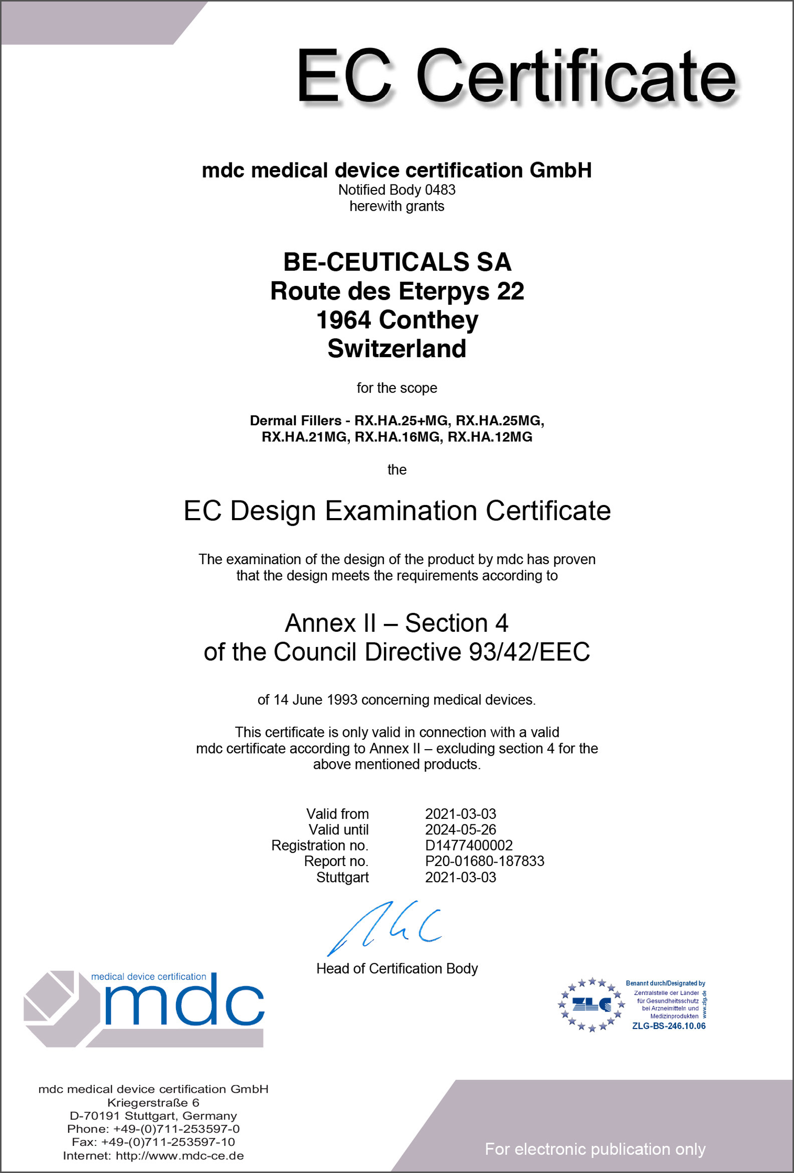Medical Device Certification - Design Examination Certificate (EEC)