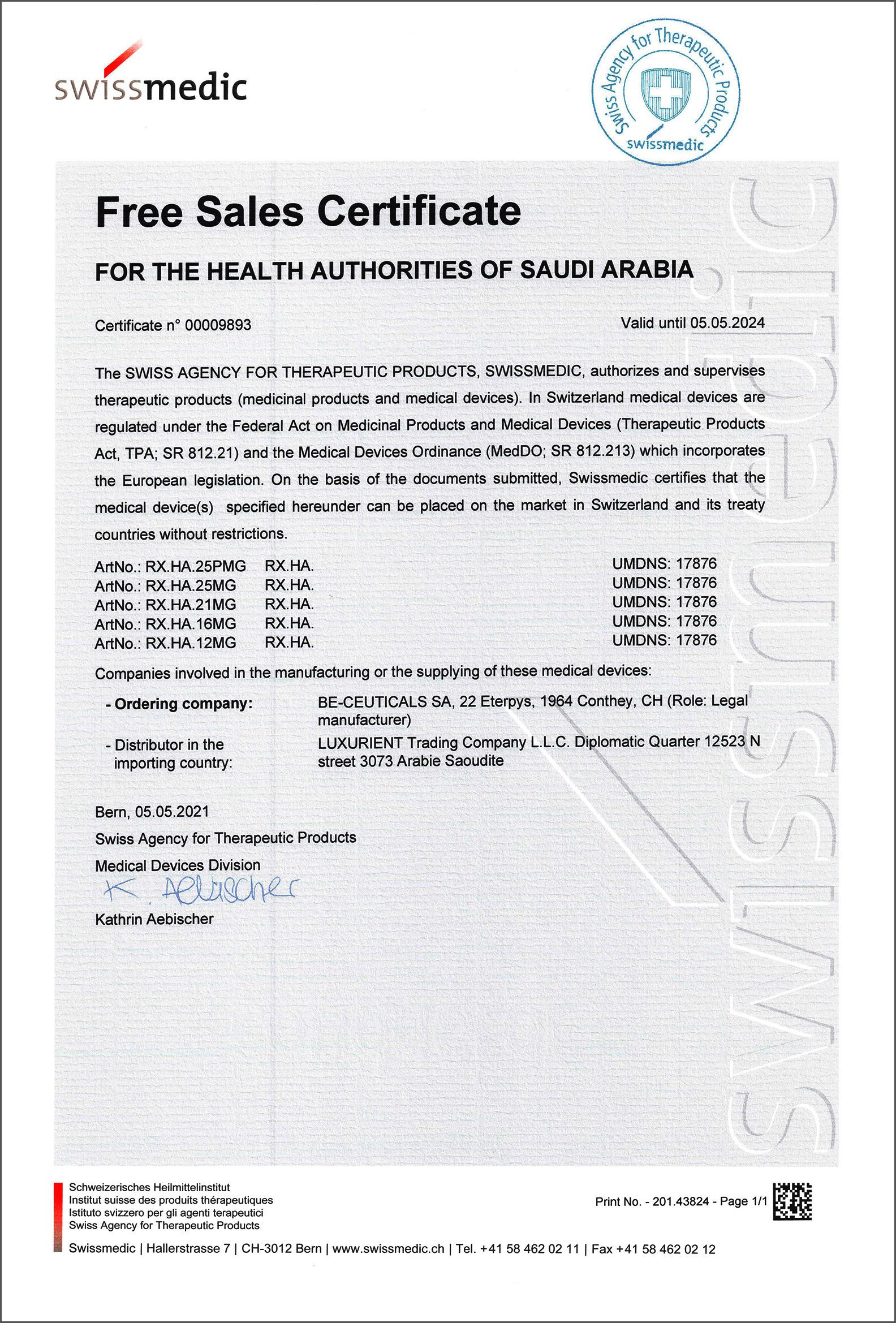 Swissmedic - Free Sales Certificate - Saudi Arabia