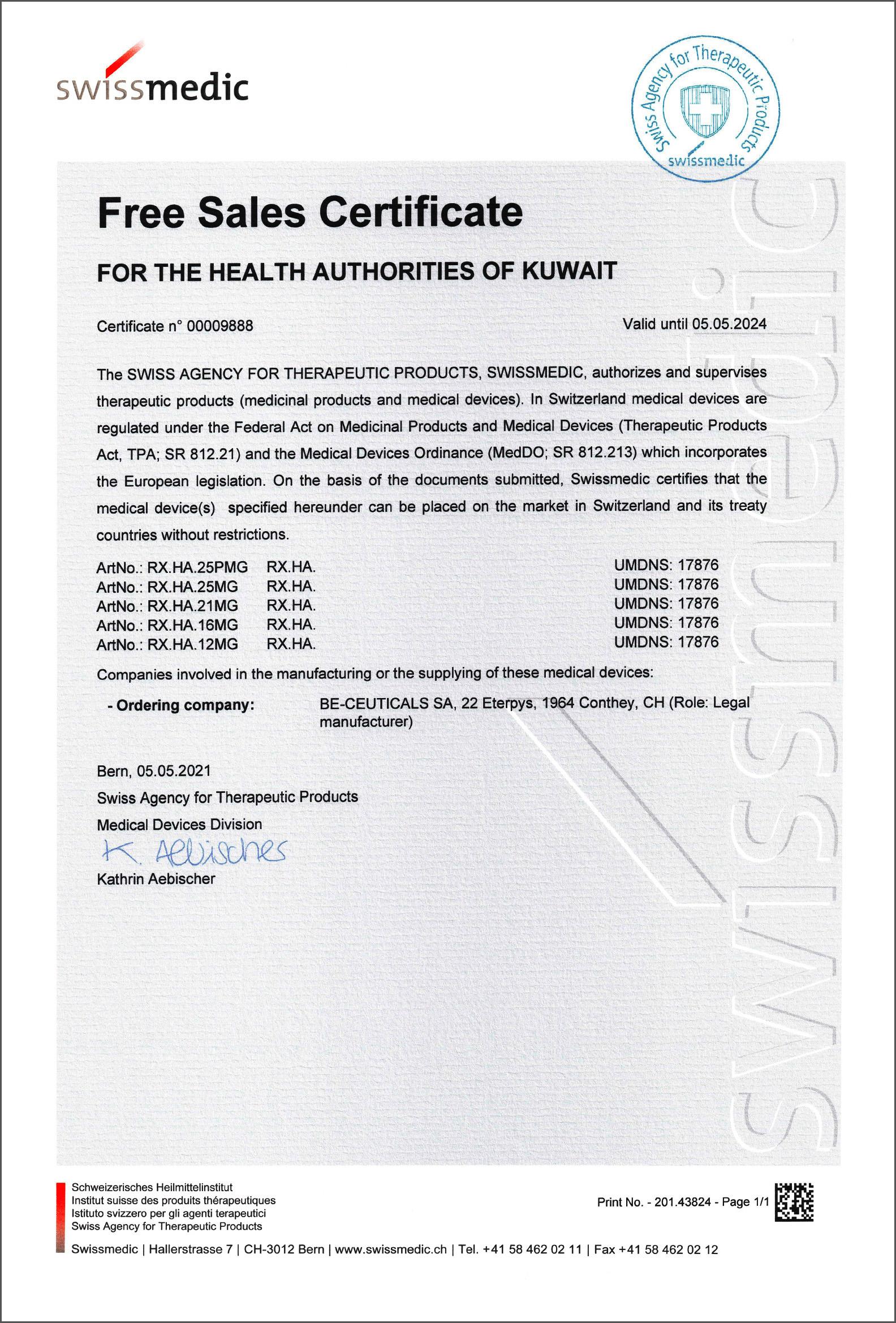 Swissmedic - Free Sales Certificate - Kuwait
