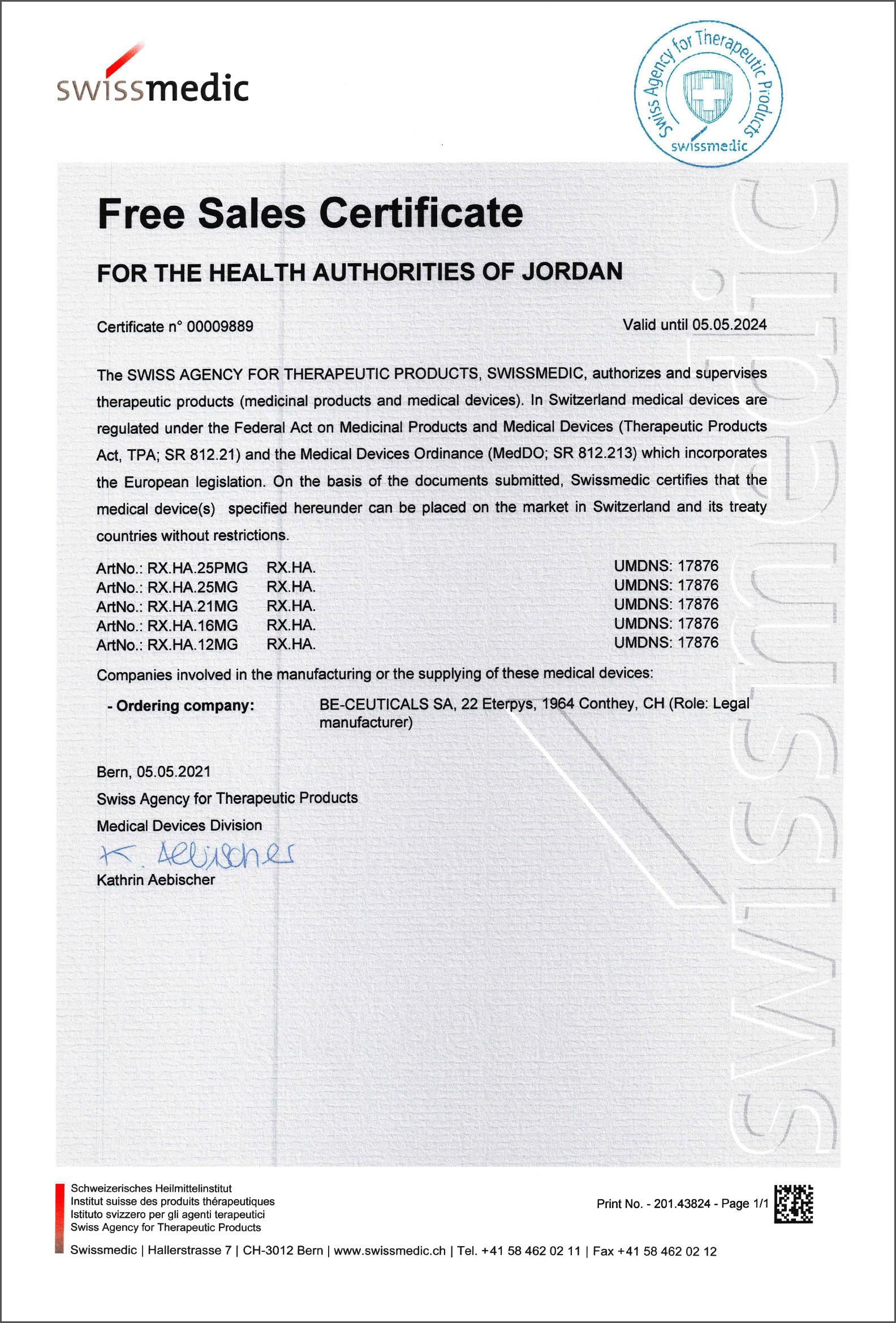 Swissmedic - Free Sales Certificate - Jordan