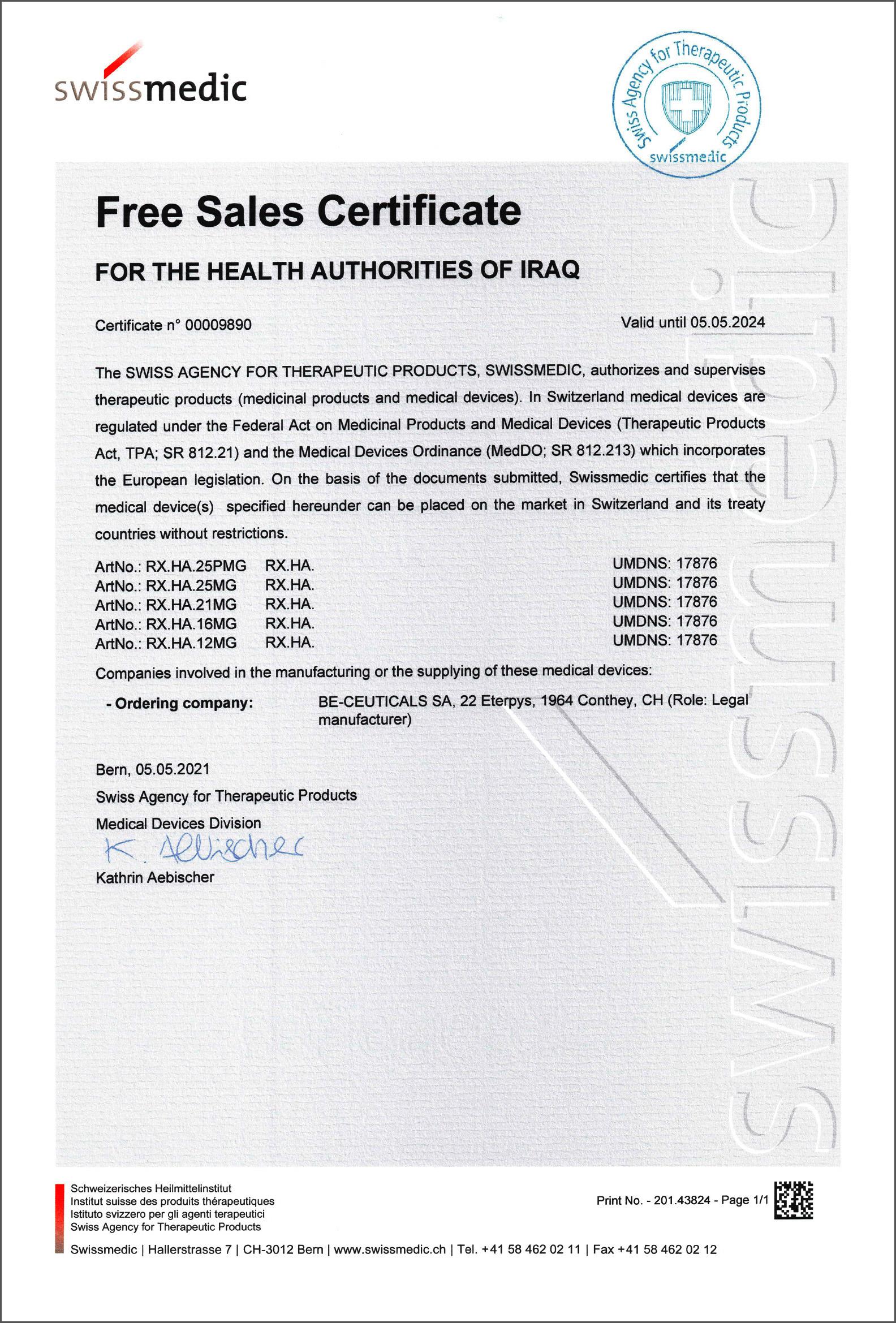 Swissmedic - Free Sales Certificate - Iraq