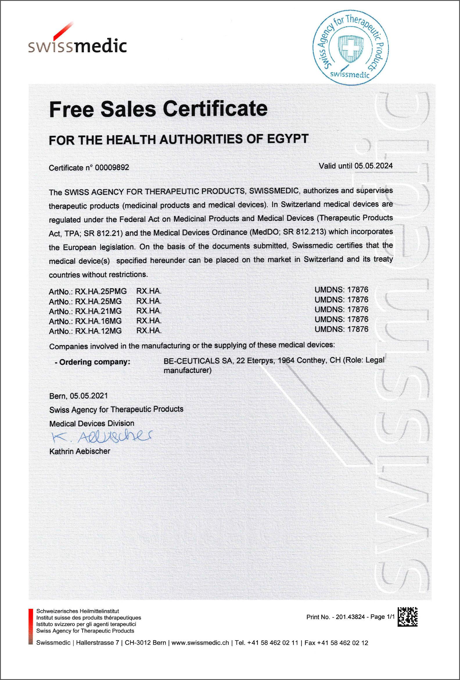 Swissmedic - Free Sales Certificate - Egypt